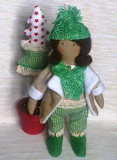 Cute Christmas set  Doll and Christmas tree от SVToys на Etsy
