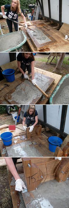 topping up the concrete in concrete bench mold