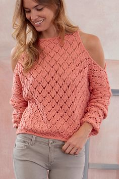 Free Knitting Pattern for Lace Cold Shoulder Pullover - This long sleeved sweate. Free Knitting Pattern for Lace Cold Shoulder Pullover - This long sleeved sweate. History of Knitting String rotating,. Knitting Patterns Free, Knitting Stitches, Free Pattern, Top Pattern, Crochet Patterns, Lace Sweater, Sweater Coats, Pullover Sweaters, Knitting Sweaters