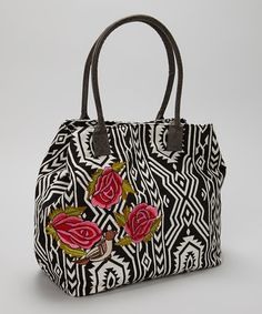 Loving this Black & White Rose Embellished Tote on #zulily! #zulilyfinds