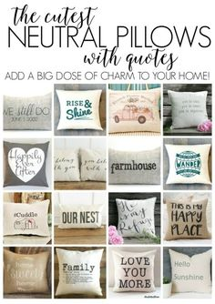 Sewing Pillows Collection of awesome neutral pillows with quotes Sewing Pillows, Diy Pillows, Throw Pillows, Cushions, Pillow Ideas, Stenciled Pillows, Fall Pillows, Green Pillows, Neutral Pillows