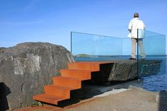 Minimalistic viewing platform from corten steel and glass Landscape Elements, Elements Of Art, Landscape Design, Landscape Stairs, Landscape Architecture, Architecture Design, Atlantic Road Norway, Decks, Planets Wallpaper