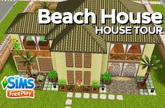 The Sims FreePlay - Beach House (Original design) - YouTube