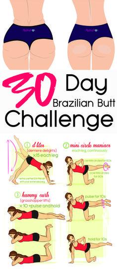 30 Day Brazilian Butt Challenge #weightloss #loseweight #weightlossworkout #buttworkout  #workout #Fitness #Health https://www.youtube.com/watch?v=Q96gA6-kRZk