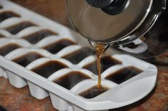 Coffee ice cubes to use in iced coffee to prevent watering down by regular ice cubes. Perfect use for the left over coffee in the coffee pot....