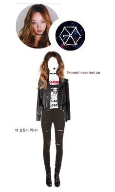 """Covering EXO's Monster"" by kwan-hyejin ❤ liked on Polyvore featuring Yves Saint Laurent and GET LOST"