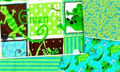Frog Fabric Turtle Lizard Gecko Quilt Fabric Medley Green 4 Yards