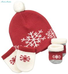 Socks and Tights 147284: Country Kids Baby-Boys Newborn Snowflake Merino Wool Hat Set, Red, 0-12 Months -> BUY IT NOW ONLY: $44.15 on eBay!