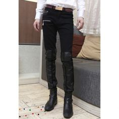 Slimming Zipper Embellished Narrow Feet Denim Skinny Leather Pants For Men Skinny Leather Pants, Mens Leather Pants, Casual Pants, Men Casual, Online Shopping Stores, Cheap Clothes, Fashion Dresses, Black Jeans, Cheap Wholesale