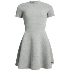 Superdry Erin Collar Dress ($53) ❤ liked on Polyvore featuring dresses, grey, women, grey ribbed dress, collared skater dress, high neck collar dress, gray skater dress and grey dresses
