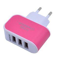 3 port Eu Plu Chargeur Alimentation USB Adaptateur secteur voyage pour iPhone 5 6 iPod Touch Galaxy S6 Rose rouge