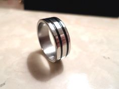 mens stainless steel band ring double black stripes sizes 6.5, 9, 10.5 #Unbranded #Band