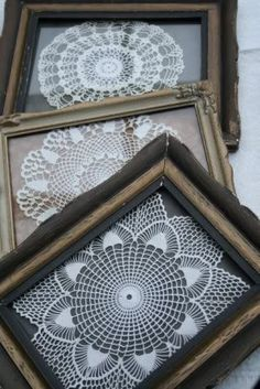 Lace doilies created with loving hands are art work. What a wonderful idea to frame them as such. If you know who made them and when, write it on the back of the frame for future custodians of these treasures. Two Thumbs up.