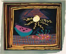 Pablo Picasso,  Nature morte à la pastèque, 1962,  linocut su carta Vélin d'Arches, cm 61x73