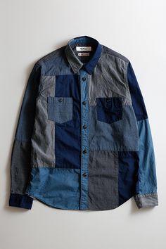 BORO PATCHWORK SHIRT RINSE Denim Jacket Men, Denim Shirt, Work Shirts, Jean Shirts, How To Patch Jeans, Blazer With Jeans, Raw Denim, Western Shirts, Mens Sweatshirts