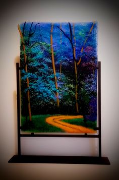 """""""""""Blue Forest"""""""" Frit Painting by Diane Quarles"""