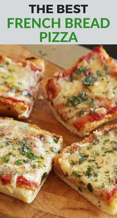 "A throwback to the grade school cafeteria, this French bread pizza is probably a little better than the ones of your youth. We flatten the bread out with a baking sheet and melt on a little cheese before adding the sauce to protect it against sogginess. Despite the name, you don't want to make this with a real baguette—go for a soft, squishy supermarket ""French"" loaf."