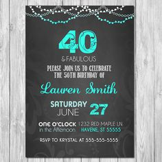 Make fabulous memories for your loved ones 40th Birthday Celebration with this 40th Birthday Invitation. This 50th Birthday Invitation comes in either 5x7 or 4x6 inches.  Im happy to adjust any of the colors to match your theme. Can also be used for any age birthday invitation. Changing the age is no problem! :)  ~~~~~~~~~~~~~Instructions for Purchase~~~~~~~~~~~~~~~  Step 1: Choose whether you would prefer a 4x6 or 5x7 card. Add the 40th Birthday invitation to your cart and begin the…