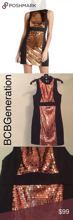BCBG Copper Sequins dress 6 NEW BCBGeneration black dress with copper sequins, zipper & see through in the back, size 6 BCBGeneration Dresses Mini