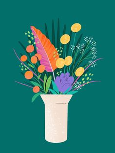 Illustration — Josefina Preumayr Birthday Bouquet, Bright Art, Have A Lovely Weekend, Artist At Work, House Plants, Stationery, Bloom, Illustration, Floral