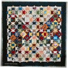 "Bevy of Baskets, 55 x 55"", a basket quilt with hourglass shading by Kim at Coho Inn"