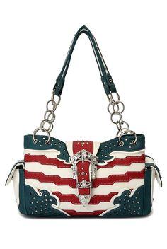 Handbags Mania - Beverly Western Cowgirl USA Flag Design Rhinestones Belt Two Side Pocket Satchel Bag, $24.49 (http://www.handbagsmania.com/beverly-western-cowgirl-usa-flag-design-rhinestones-belt-two-side-pocket-satchel-bag/)