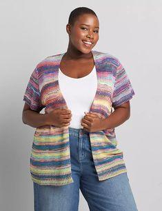 Open-Front Short-Sleeve Spacedye Cardigan | Lane Bryant Short Sleeve Cardigan, Long Sleeve Tees, Short Sleeves, Lane Bryant, Rainbow Colors, Lace Trim, Cami, Plus Size, Sweaters