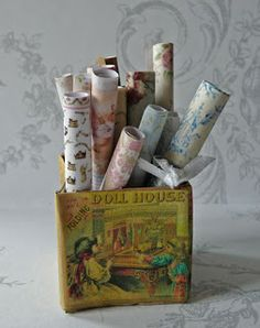 Box with wallpaper rolls made of paper scale 1:12