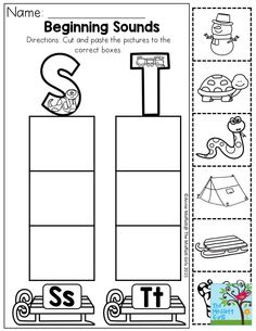 beginning sounds cut and paste the pictures to the correct boxes letter sound recognition
