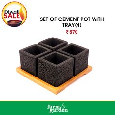 SET OF CEMENT POT WITH TRAY(4) Visit our online store to shop and view more products : https://farmandgarden.in/ OR WhatsApp on + 91 9061314111 or Inbox us for details. #CementPotOnline #GardeningPotsOnline #farmandgarden