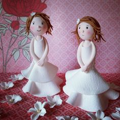 little fondant girls for Communion cakes