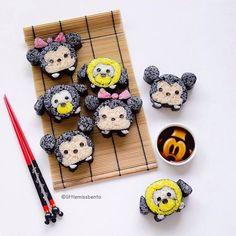 Tsum Tsum sushi: Mickey, Minnie, Pluto and Goofy, fun deco sushi~ or kazarimaki sushi in Japanese.
