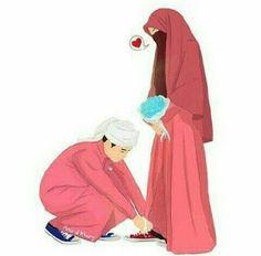 kumpulan anime kartun romantis anyar - my ely Love Cartoon Couple, Cute Couple Art, Cute Love Cartoons, Cute Muslim Couples, Muslim Girls, Cute Couples, Niqab, Image Couple, Cover Wattpad