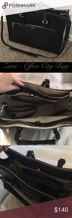 Zara Office City Bag - Black & Gold Zara black with gold accessories work bag like a purse briefcase! Great condition!!! Faux leather. Large with many compartments and a padded area for a laptop. Great for school, work, travel. Comes with cross body strap.   Retail $140 Brisette #66 Zara Bags Satchels