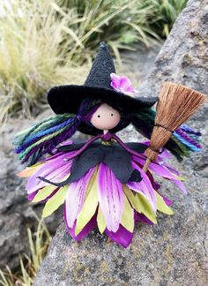 Excited to share the latest addition to my shop: Handmade Witch Fairy Doll, Halloween Flower F Halloween Flowers, Halloween Doll, Halloween Ornaments, Halloween Gifts, Fairy Crafts, Doll Crafts, Cute Crafts, Yarn Dolls, Clothespin Dolls