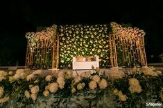 An Ethereal Bangalore Wedding With A Bride In An Emerald Green Wedding Lehenga Reception Stage Decor, Wedding Backdrop Design, Wedding Stage Design, Rustic Wedding Backdrops, Wedding Reception Backdrop, Wedding Mandap, Wedding Receptions, Wedding Table, Green Wedding Decorations