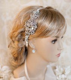 1920s Bridal Ribbon Headband, Deco Wedding Hair Accessory,  Wedding Hairband,  Vintage Style Headband - SIMONE by LottieDaDesigns on Etsy https://www.etsy.com/listing/59899340/1920s-bridal-ribbon-headband-deco