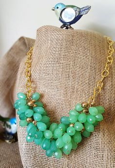Green/Gold Cluster Necklace Statement Piece Matinee/Princess Length Bib Necklace