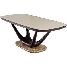 Italian Dining Table in Marble Glass and Mahogany | From a unique collection of antique and modern center tables at https://www.1stdibs.com/furniture/tables/center-tables/