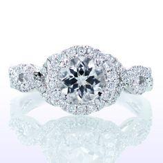 Platinum Diamond Halo Twist Vine Band Engagement Ring with Center Diamond Stone