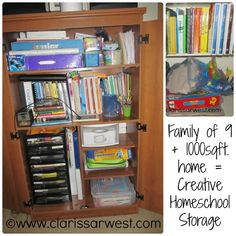 How a family of 9 living in 1000sqft. organizes their homeschool resources!