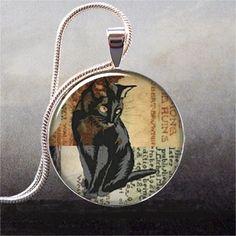Black Cat Collage art pendant charm, cat necklace resin pendant, photo pendant, cat jewelry