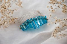 Blue crystal hair comb, Raw crystal hair comb, Blue hair accessory, Rough crystal hair comb, Blue wedding tiara, Fairy blue hair comb by TheArcaneBoutique on Etsy