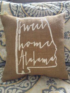 University of Alabama Auburn burlap pillow by TwoPeachesDesign, $29.00