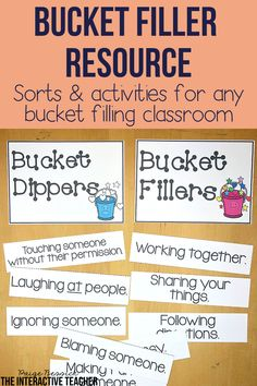 Have You Filled a Bucket Today? by Carol McCloud is the perfect book to teach your students how to be kind and respectful. This bucket filler activities bundle has everything you need to teach your students all about bucket fillers and bucket dippers. It includes a bulletin board craft, printables, sorts, activities and images for anchor charts. This resource is perfect for preschool, kindergarten, first grade or any bucket filling classroom. Bucket Filler Activities, Sorting Activities, Classroom Activities, Preschool Kindergarten, Classroom Decor, Teaching Character, Character Education, Teacher Binder, Teacher Blogs
