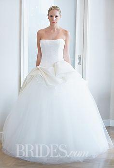 "Brides.com: Edgardo Bonilla - Fall 2014. Style 316, ""Rose Love"" strapless tulle and lace gazar ball gown wedding dress with peplum waist detail, Edgardo Bonilla"