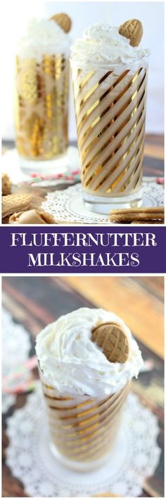 An ultra-flavorful peanut butter and marshmallow milkshake with creamy peanut butter, marshmallow fluff, and Nutter Butter cookie crumbs, all swirled with vanilla ice cream! Frozen Desserts, Frozen Treats, Easy Desserts, Dessert Dips, Best Dessert Recipes, Party Recipes, Summer Recipes, Drink Recipes, Peanut Butter Recipes