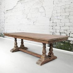 Our Oxford Old World 8 Ft Baluster Table is an impressively solid piece of furniture that will live on for many generations to come. Produced from highly weathered/textured Old Growth Douglas Fir.  Oxford Baluster Trestle Table: $1,585 40wide x 96long x 30high  Local Pick Up  Customer paying 50% deposit of $792.50 Remainder due at the time of completion of $792.50