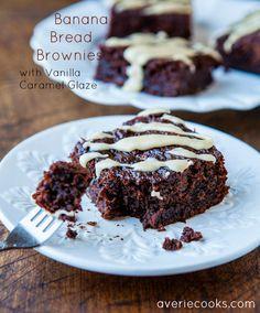 Banana Bread Brownies with Vanilla Caramel Glaze - Soft, gooey, moist & a healthier spin on brownies. Easy recipe at averiecooks.com