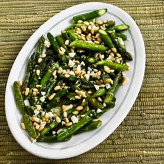 Recipe for Sauteed Asparagus with Melted Gorgonzola and Pine Nuts